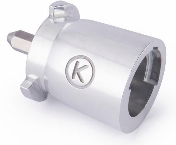 Der Kenwood Adapter, um die alten Zubehörteile auch für die neuesten Kenwood Maschinen nutzen zu können